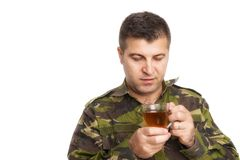 Soldier drink tea royalty free stock photos