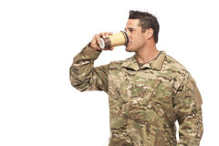 Soldier drinking coffee Royalty Free Stock Images