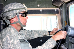 A soldier driving stock photography