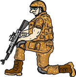 Soldier on duty with a rifle sketch illustration clip-art. Hand drawn Stock Images
