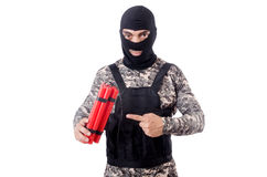 Soldier with dynamite Stock Photography