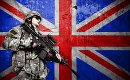 Soldier on England flag background royalty free stock photos