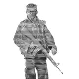 Soldier engrave style-Vector Illustration Stock Image