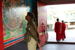 Soldier at entrance to Rumtek Monastery Stock Image