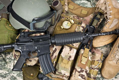 Soldier equipment of NATO forces Stock Image