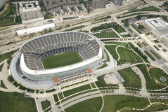 Soldier Field. Aerial shot of Chicago's Soldier Field on a bright, sunny day royalty free stock photos