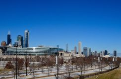 Soldier Field And The Winter Skyline Royalty Free Stock Photos