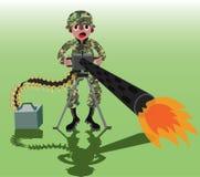 Machine Gun Soldier. A soldier fiercely fires a machine gun Stock Photos