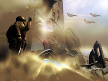 Soldier and fighters Stock Images