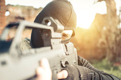 Soldier fighting on the enemy land. Concept about warfare and terrorism Stock Image