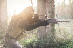 Soldier fighting on the enemy land. Royalty Free Stock Photography