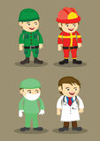Soldier Firefighter Surgeon and Doctor Vector Illustration. Soldier, firefighter, Surgeon and Doctor in uniform and work attire. Professionals and occupations Stock Photography