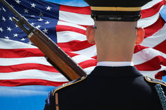 Soldier and Flag Royalty Free Stock Images