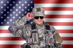 Soldier and flag Stock Images