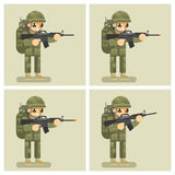 Soldier flat design animation shot weapon. Order act movement, automatic and shooter, assault or attack, uniform  warrior, vector illustration Stock Photos