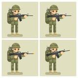 Soldier flat design animation shot weapon Stock Photos