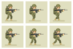 Soldier flat design run animation frames. Military army, man action in uniform, vector illustration Royalty Free Stock Image