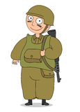 Soldier. Friendly funny cartoon soldier in uniform Royalty Free Stock Images