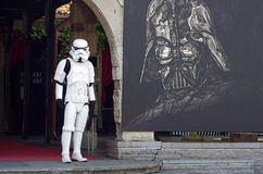 Star Wars trooper in front of cinema museum Royalty Free Stock Photography