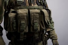 Soldier front pouches lbv. These contain magazines Stock Images