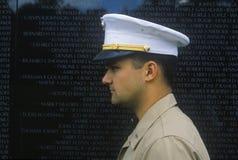 Soldier in front of Vietnam Memorial, Washington, D.C. Stock Photos