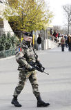 Soldier full of weapon in paris city Stock Image