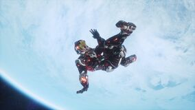 A soldier of the future falls on a blue planet in outer space. Animation for sci-fi, futuristic or space travel