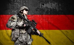 Soldier on Germany flag background royalty free stock photos
