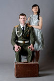 Soldier and girl Stock Image