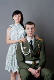 Soldier and girl. Family portrait of russian soldier and his girl stock images