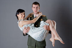 Soldier and girl Stock Images