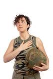 Soldier girl listening anthem Royalty Free Stock Image