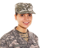 Soldier: girl in the military uniform and hat Royalty Free Stock Image