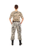 Soldier: girl in the military uniform. Young girl-soldier in the camouflage military uniform standing by the front Stock Image