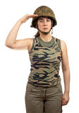 Soldier girl salute Royalty Free Stock Images