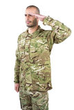 Soldier giving a salute Stock Images