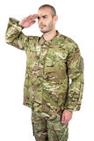 Soldier giving a salute Stock Photo