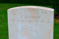 Soldier of the great war Bedford house cemetery. Royalty Free Stock Images