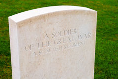 Soldier of the great war Bedford house cemetery. Royalty Free Stock Image