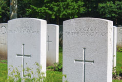 A soldier of the great war WW1 cemetery Stock Image
