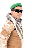 Soldier with green beret and glasses Royalty Free Stock Image
