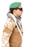 Soldier with green beret and glasses Royalty Free Stock Photography