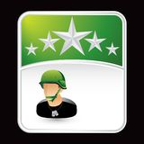 Soldier on green star backdrop Royalty Free Stock Photo