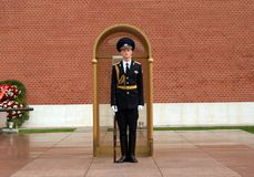 Soldier of the Guard of honor. At the Eternal Flame in Moscow, Russia royalty free stock images