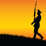 Soldier on guard in nature vector Royalty Free Stock Photography