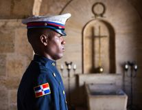 Soldier on guard in Santo Domingo Stock Photo