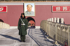 Soldier on guard at Tiananmen Square in Beijing Stock Photos