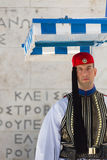 Soldier guards the Tomb of the Unknown Soldier at Syntagma Square, Athens, Greece royalty free stock photo