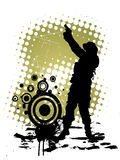 Soldier with gun. Illustration of a man with gun on an abstract grunge background Stock Photo