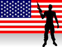 Soldier with gun. Illustration of a soldier infront of the us banner Royalty Free Stock Photo